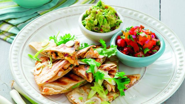 Chicken, spring onion and cheddar quesadilla