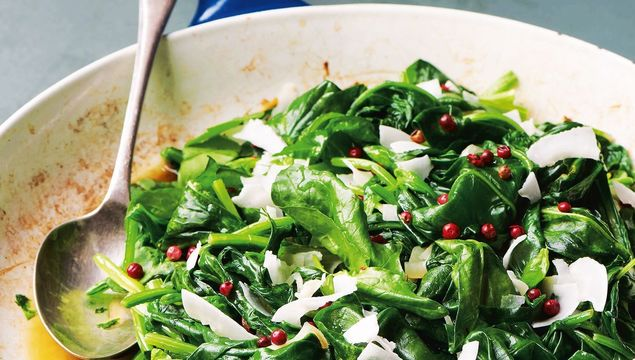Wilted spinach with coconut, ginger and pink peppercorns