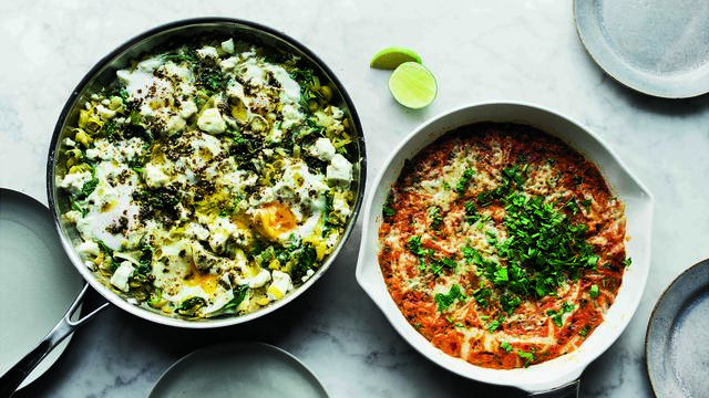 Braised eggs with leeks and za\'atar from SIMPLE
