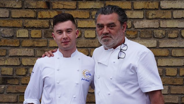 Winner of the 2018 Euro-Toques Young Chef of the Year competition, Jack Lenards, with guest judge and and chef, Liam Tomlin