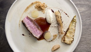 Duck with Baked Cabbage, Kohlrabi and Apple Mustard from Forest Avenue