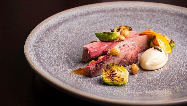 Roast wild mallard, caramelised sprouts, hazelnuts, orange and clove with bread sauce