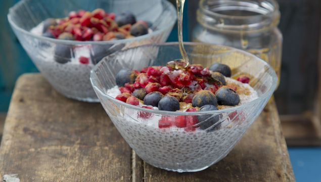 Chia seed pudding with winter berries