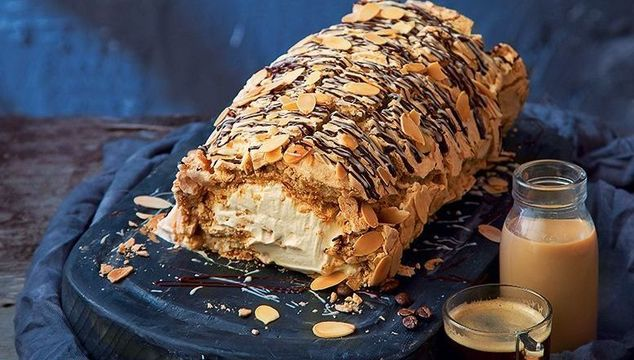 Baileys coffee meringue roulade with toasted almonds