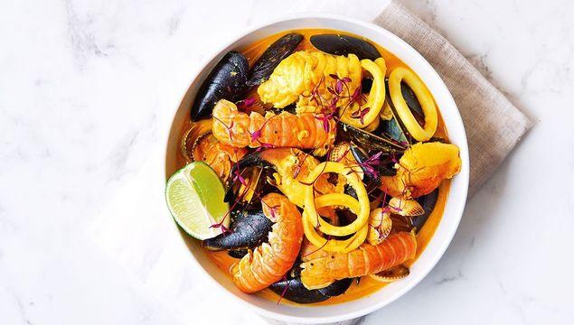 Mixed seafood hotpot