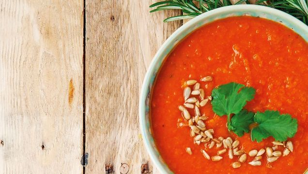Roast red pepper and sweet potato soup