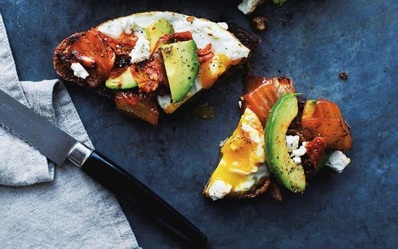 Kimchi, egg and avocado on sourdough, healthy baking