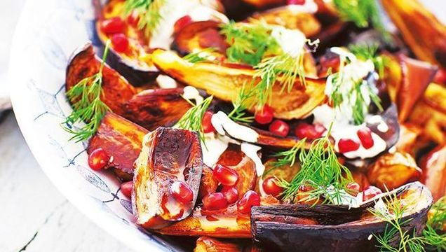 Roasted eggplant with spicyyoghurt and pomegranate