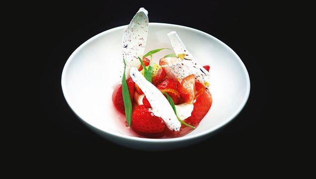 Marinated Strawberries with Rice Puree and Tarragon