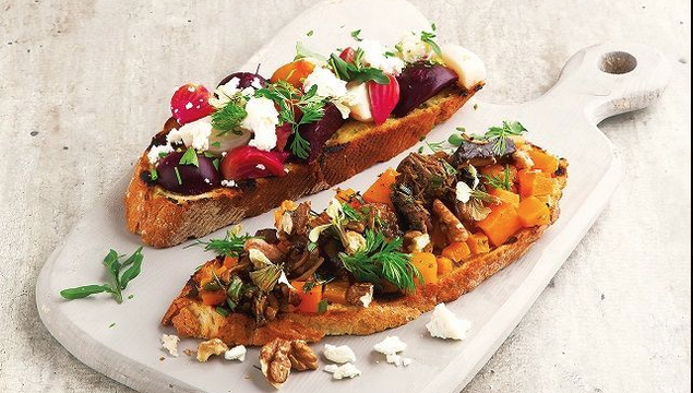 Butternut squash and wild mushroom bruschetta