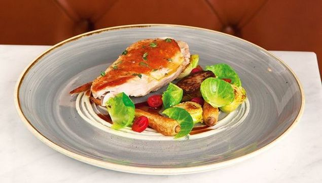 Roast Pheasant with parsnip and pickled cranberry