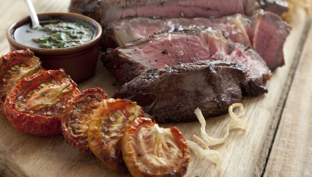 Cote De Boeuf With Chimichurri Dressing and Onion Strings