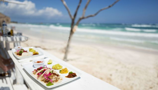 Tacos Yucatan Mexico: Tacos on a plate at a beach bar in Tulum Mexico