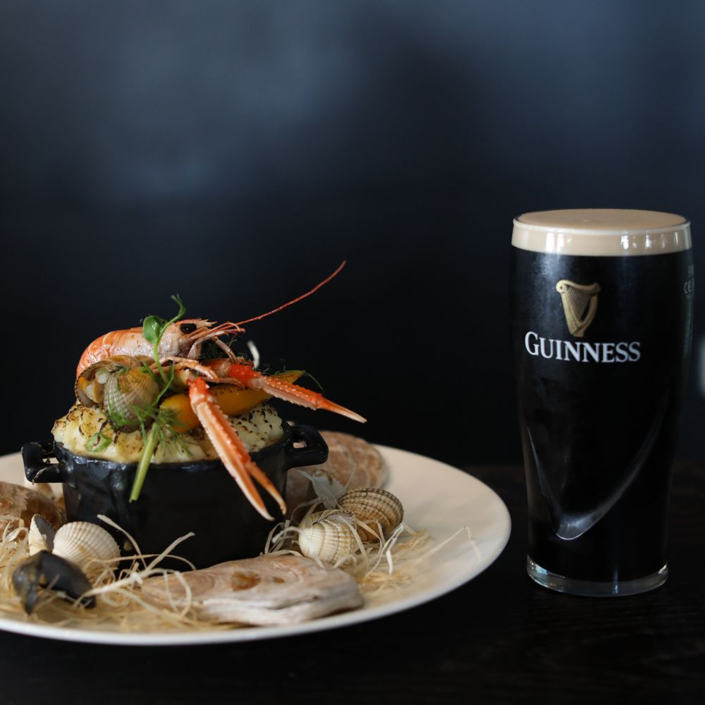 Guinness fish pie with pint