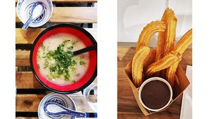 Congee in Bowls by Kwanghi Chan & Churros with Chocolate in Sweet Churro.