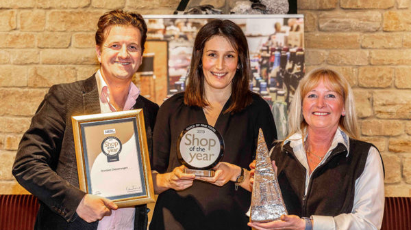 (L-R) John Farrand, Guild of Fine Food, Laura Killeen, marketing manager at Sheridans Cheesemongers and Helen Daysh from Le Gruyère AOP at Shop of the Year 2019 awards.