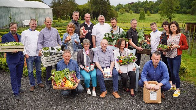 Euro-Toques Irish food award winners (left to right) Kevin Wallace, New Leaf Urban Farm; Noel and Margaret Lee, Connemara Seaweed Company; Derek and Brendan Allen, Castlemine Farm; Aonghus O'Coistealbha, Garrai Glas Farm; John Graham, Ballyholey Farm; Jen
