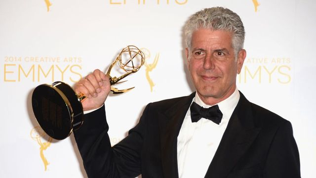 Anthony Bourdain poses in the press room during the 2014 Creative Arts Emmy Awards at Nokia Theatre L.A. Live on August 16, 2014 in Los Angeles, California.