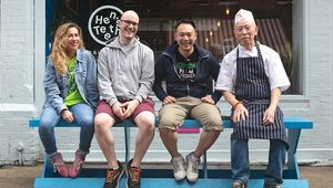 Pictured here on Fade Street in Dublin is Leah Burke, store manager, Hen\'s Teeth, Dennis Cassidy, store manager, The R.A.G.E, Cheung Chu Kin, Master Chef, Duck and Kwanghi Chan, chef/owner Chan Chan Sauces and Bowls Restaurant.