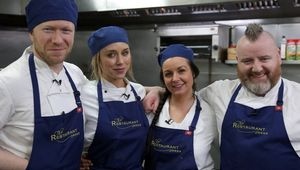 Una Healy with chefs Stephen McAllister, Louise Lennox and Gary O\'Hanlon.