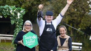 Darina Allen, Hugh Maguire The Smokin\' Butcher and Olivia Duff launch National Black Pudding Day at Samhain Festival 2019.
