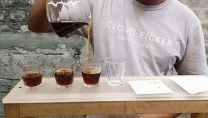 Arvind Khedun, head of coffee at Cloud Picker and Irish Barista Champion, pouring coffee.