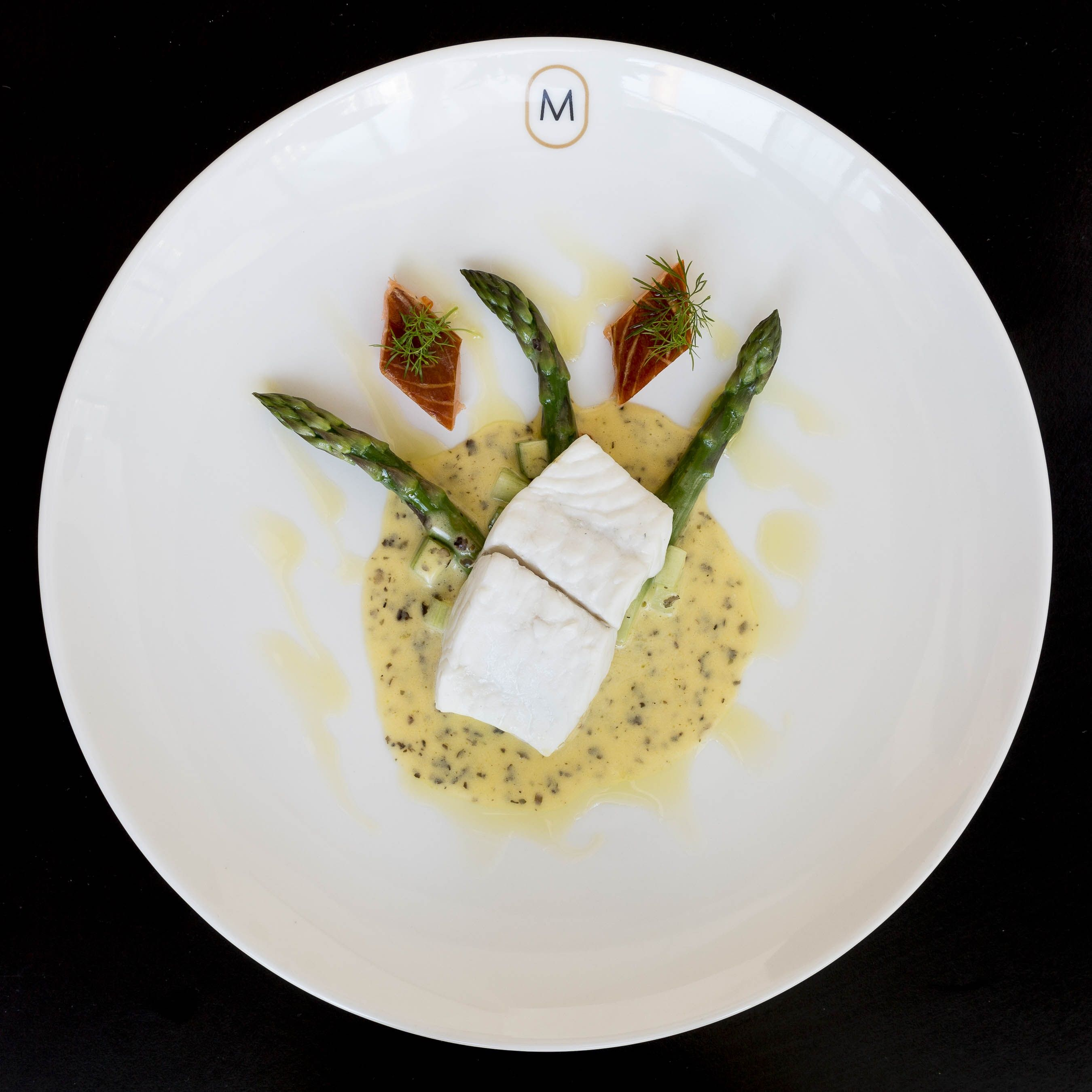 Fillet of brill  hederman hot smoked salmon  asparagus  seaweed ifwg