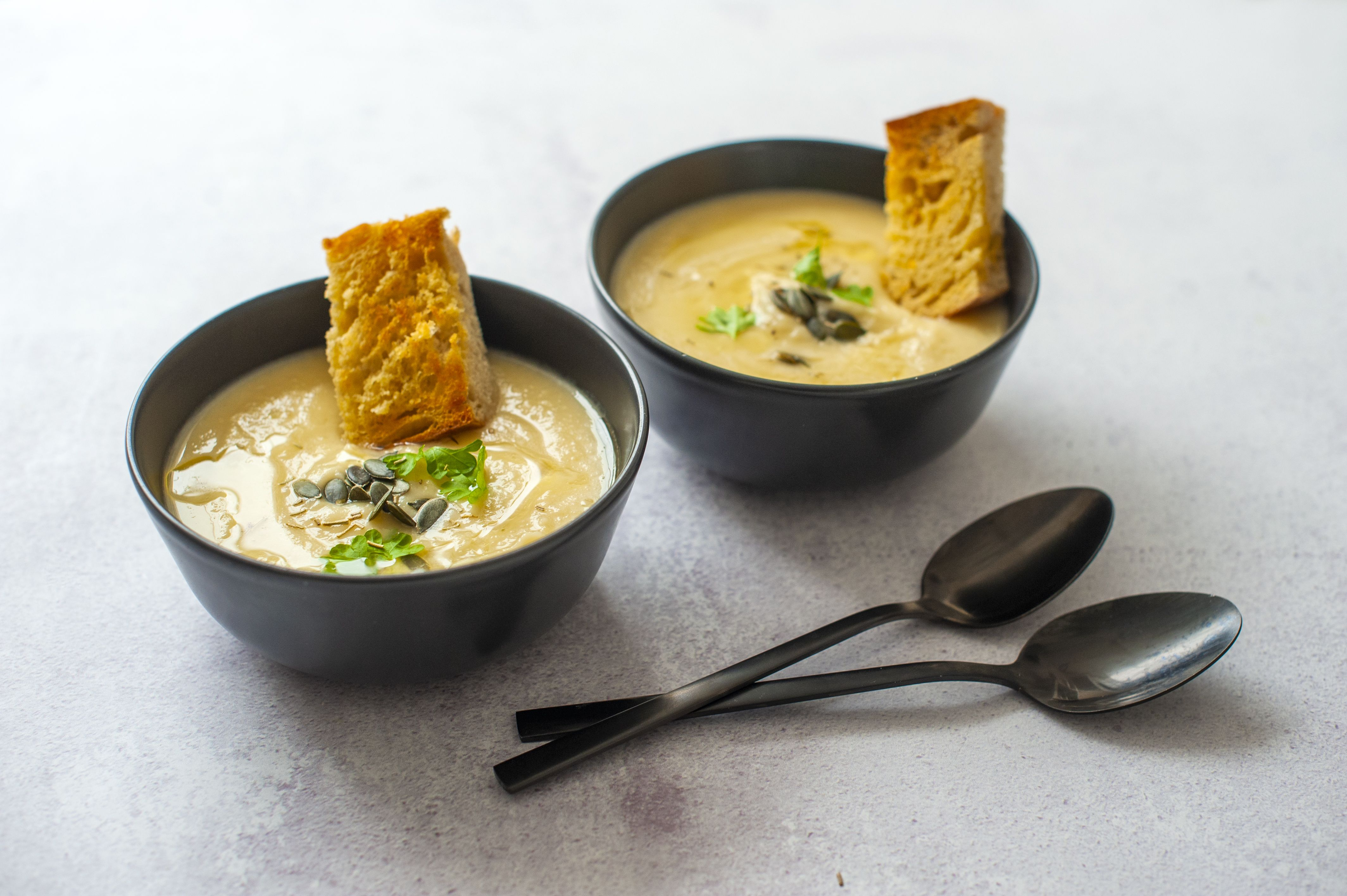 Creamy roast parsnip and garlic soup