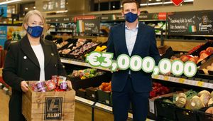 Pictured: Deborah Crowley of Funky Monkey Foods and John Curtin, Group Buying Director at Aldi Ireland