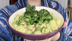 Melissa Hemsley with her spring vegetable bowl