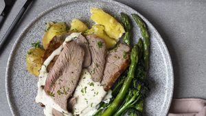 Thumb roast lamb mustard cream sauce