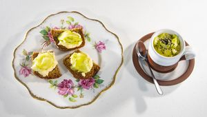 The Tannery\'s crab creme brûlée with pickled cucumber