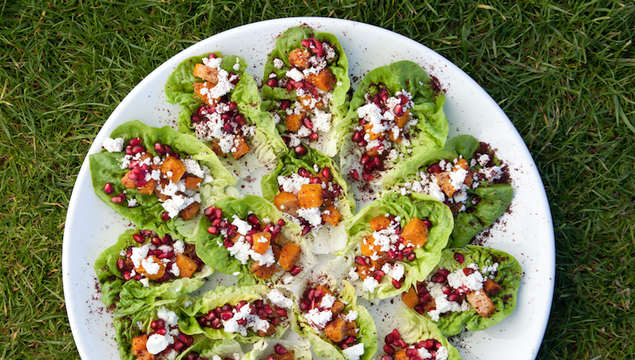 Baby gem lettuce wraps filled with butternut squash, feta cheese, pomegranate and sumac. Photo: Harry Weir