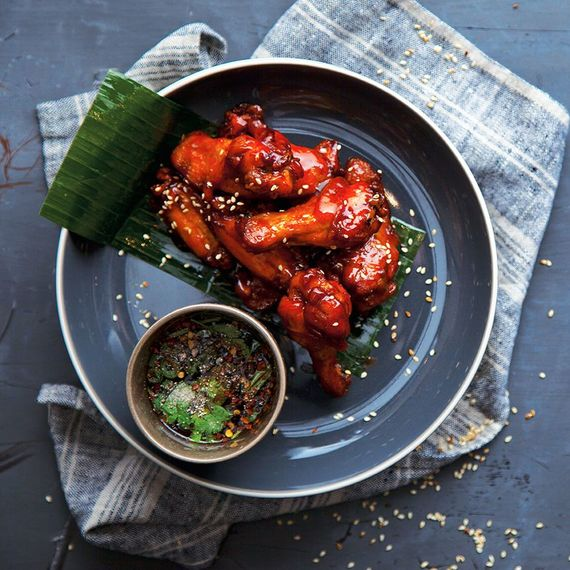Honey glazed chicken wings. Photo by Harry Weir and Brian Clarke.