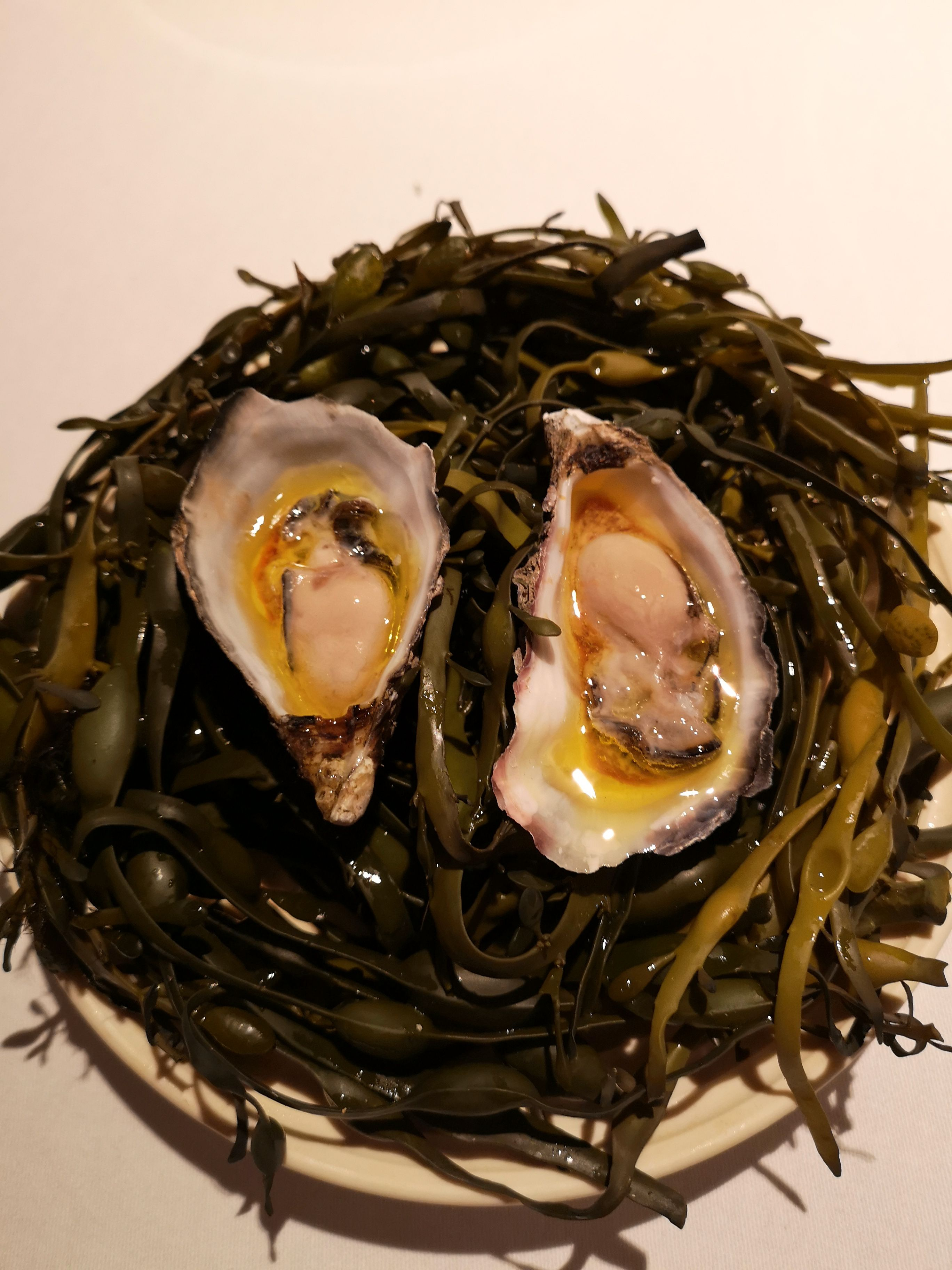 Flaggy Shore oyster poached in roasted koji butter with Highbank Orchard apple balsamic