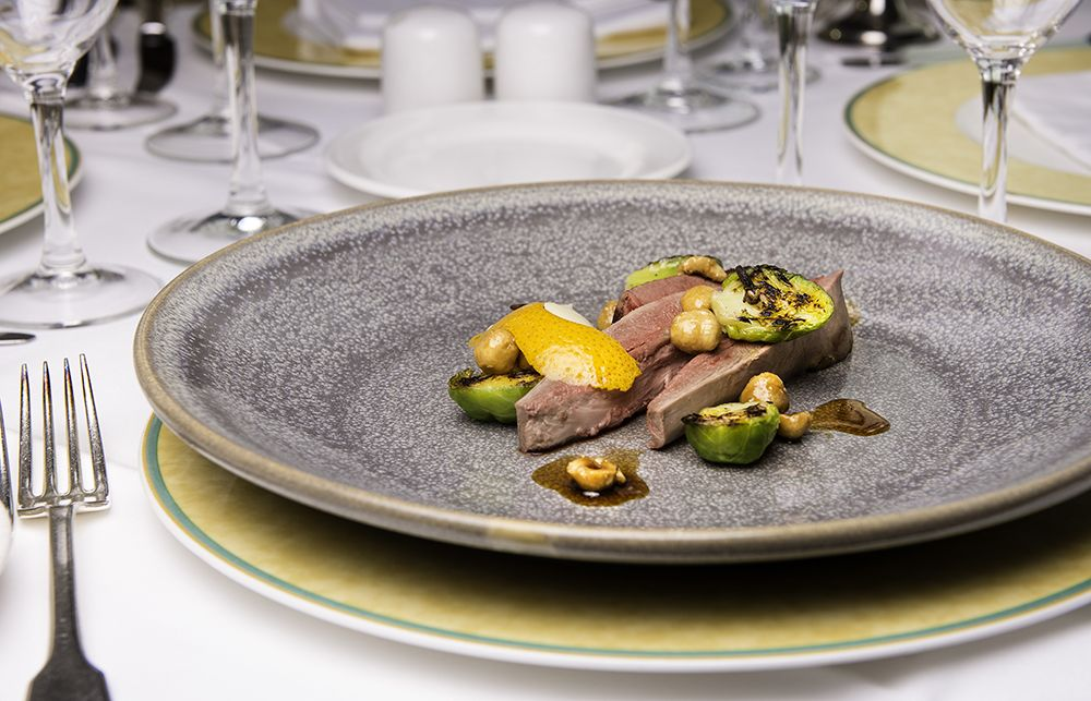 Roast wild Irish mallard, caramelised sprouts, hazelnuts, orange and clove bread sauce from La Fougere.