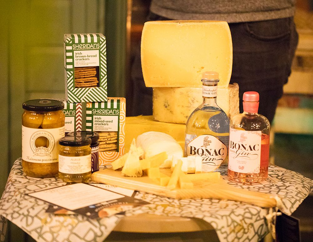 Display of cheese from Sheridans Cheesemongers and Bonac Irish Gin. Photo by Ailbhe O'Donnell.