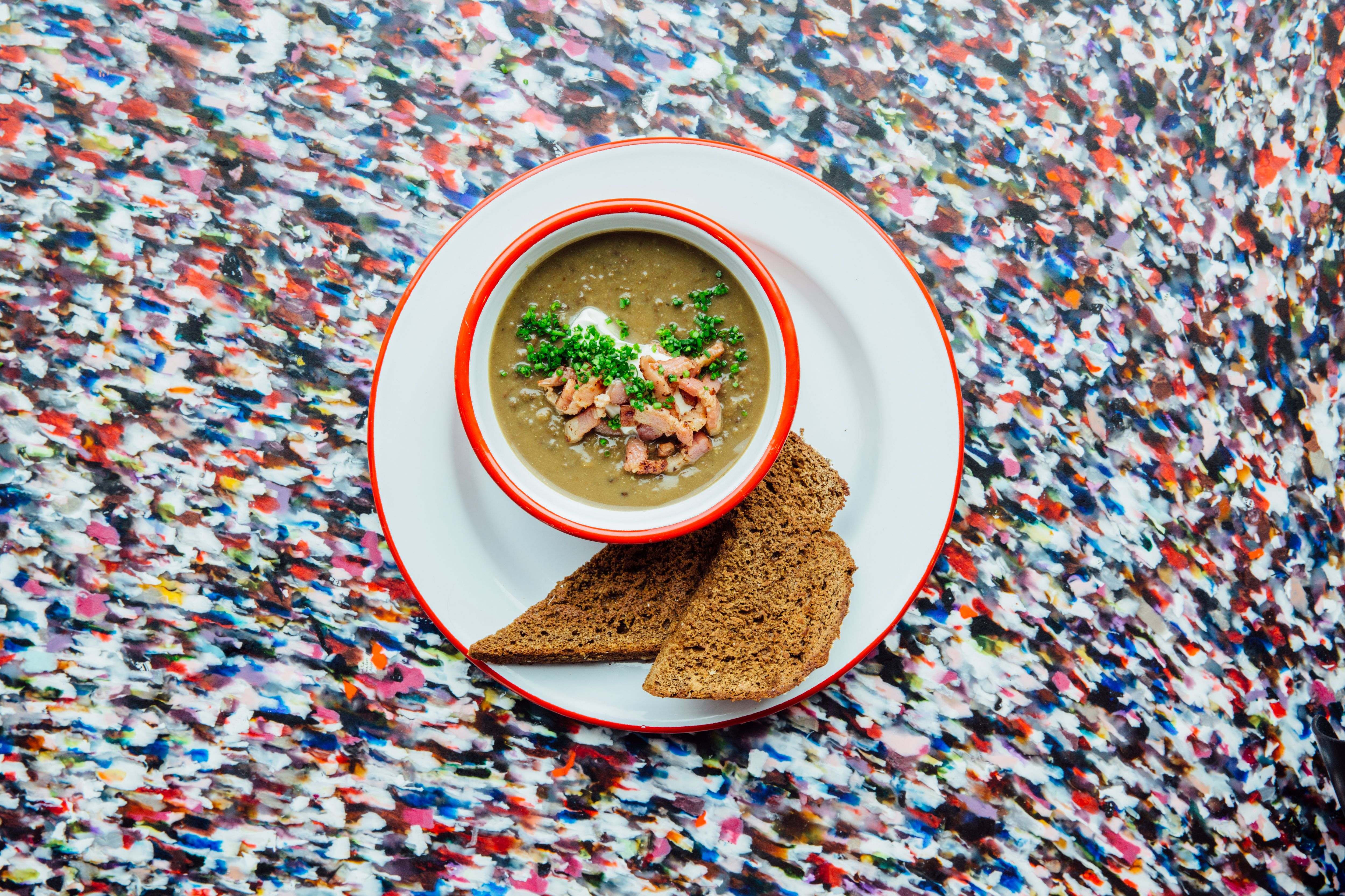 Puy lentil soup with bacon and cream.