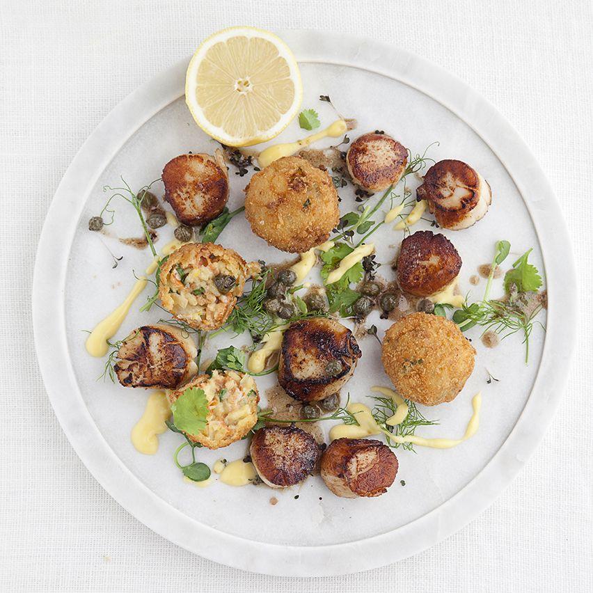 Gareth Smith's seared scallops with smoked salmon arancini