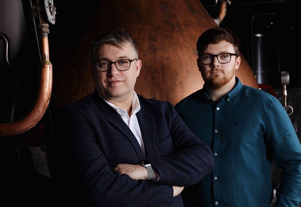 Master Distiller Brian Nation, left, and Apprentice Distiller Henry Donnelly, right