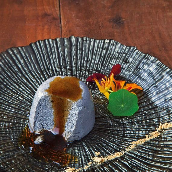 Takashi's tofu and black sesame pudding. Photo by Harry Weir and Brian Clarke.