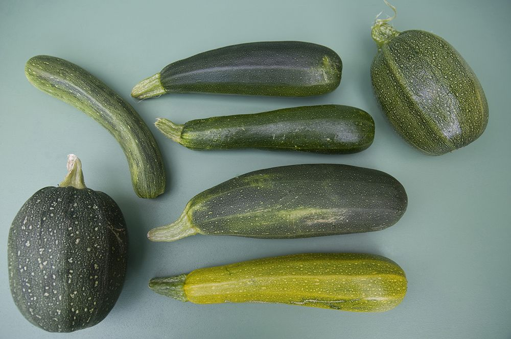 Different varieties of courgettes. Getty Images.
