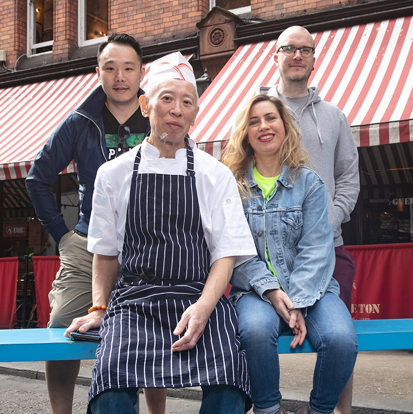Pictured here on Fade Street in Dublin is Leah Burke, store manager, Hen's Teeth, Dennis Cassidy, store manager, The R.A.G.E, Cheung Chu Kin, Master Chef, Duck and Kwanghi Chan, chef/owner Chan Chan Sauces and Bowls Restaurant.