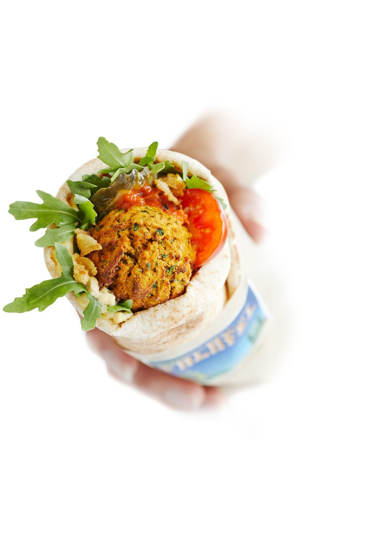 LEON's vegan falafel wrap.