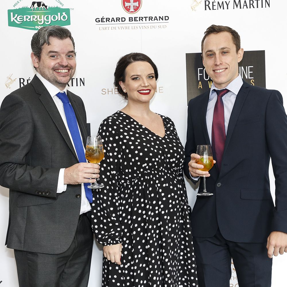 Darren and Vanessa Hogarty with Nicolas Fagundes at the 2019 FOOD AND WINE Awards. Photo by Paul Sherwood.