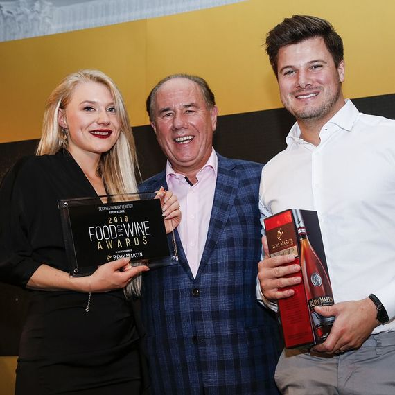 Jordan and Majken from Aimsir receiving their Best Restaurant Leinster award at the 2019 FOOD AND WINE Awards. photo: Paul Sherwood.