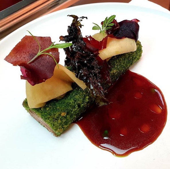Lamb kromeski, pickled red dulse, kohlrabi. Photo by @chapteronedublin on Instagram.