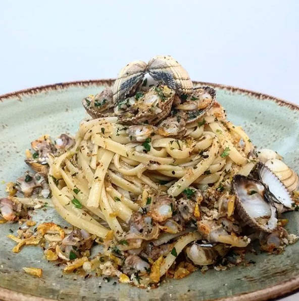 Linguine with Cockles, Candied Lemon & Parsley Breadcrumbs from @ripassobray on Instagram.