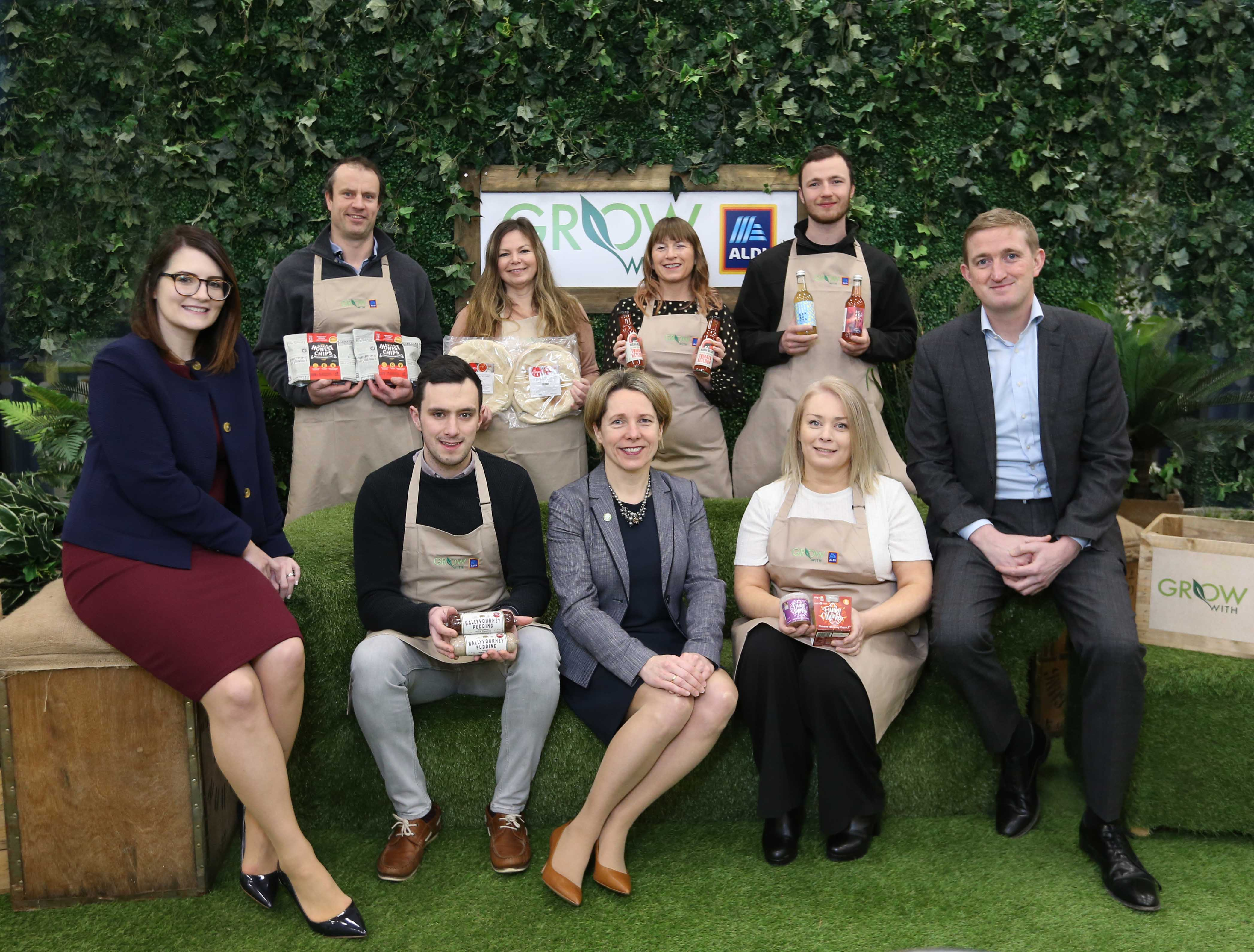 (back row L-R) Kieran Wall (Walls Honest Chips), Karen Boyd (Choice Pizza), Loretta Kennedy (Mamabear Foods), Keith Loftus (All About Kombucha) and (front row L-R) Laura Harper (Aldi), Cathal Allen (Ballyvourney Pudding), Tara McCarthy (Bord Bia), Deborah Crowley (Funky Monkey Food) and Padraig Barry (Aldi)