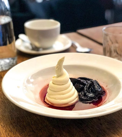 Red wine prunes with vanilla mascarpone from Etto. Image by @gastrogays on Instagram.
